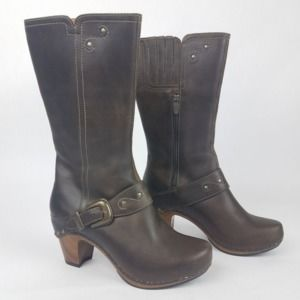 Dansko Rylan Crazy Horse Brown Clog Heeled Boots